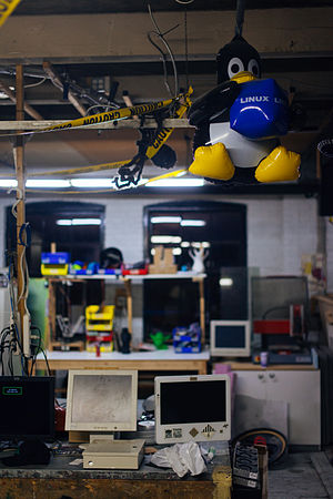 Hackerspace - Many hackerspaces support the free software movement.