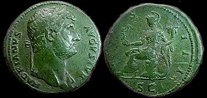 Sestertius - Example of a detailed portrait of Hadrian 117 to 138