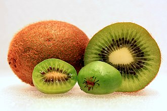 Kiwifruit - The larger fuzzy kiwifruit at rear compared to the smaller kiwi berry