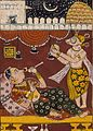 Harinaigameshin Brings the Embryo of Jina Mahavira to Queen Trishala, Folio from a Kalpasutra (Book of Sacred Precepts) LACMA M.71.1.18.jpg