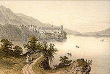 Peinture de l'abbaye d'Hautecombe au XIXesiècle