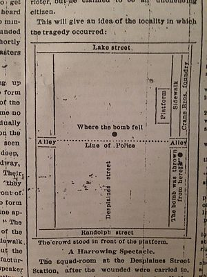 A map of the bombing published by the Chicago Tribune on May 5, 1886 - Haymarket affair