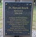 Henrik Marczali (Zsigmond Szórádi), plaque, 2020 Marcali.jpg