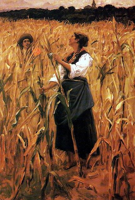 Entre o milharal (sem data). Óleo sobre tela de Henrique Pinto. Museu Carlos Costa Pinto, Salvador.
