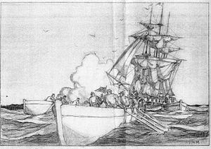 USS Portsmouth (1843) - Marines of the USS Portsmouth proceeding ashore on July 9, 1846 to hoist the American flag at Yerba Buena, today's San Francisco