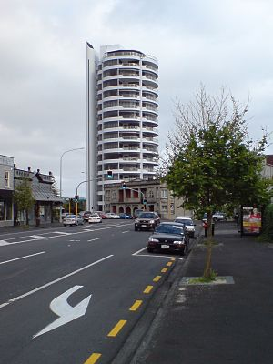 Herne Bay, New Zealand - While not quite typical of Herne Bay, the two rounded skyscrapers rising from the suburb, the Westwater and Shangri-La Apartments, are local landmarks