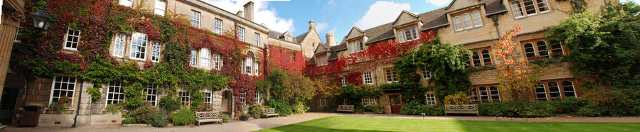The Old Building Quadrangle of Hertford College incorporates the lodge, library, chapel, hall, bursary and other administrative buildings. It is the only Hertford quadrangle to have a lawn in the centre, in the traditional college style.