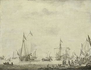 The prince's yacht and the sate yacht leaving Moerdijk with Charles II of England on board, 1660