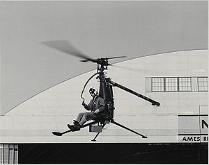 "Hiller Aircraft - 1956 Hiller YROE-1 one-man ""Rotorcycle"" being tested at NASA Ames Research Center"