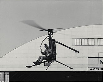"""Hiller Aircraft - 1956 Hiller YROE-1 one-man """"Rotorcycle"""" being tested at NASA Ames Research Center"""