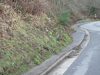 Downhill creep - Creep has caused the soil to spread over this pavement.