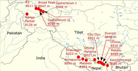 Himalaya Berge Karte.Achttausender Wikipedia