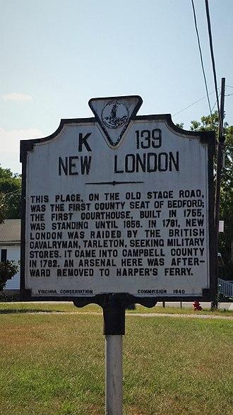 New London, Virginia - The historic marker at New London incorrectly states that Lieutenant-Colonel Tarleton raided New London.