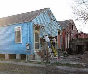 Hollygrove, New Orleans - Repairing damaged houses after Hurricane Katrina
