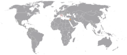 Map indicating locations of Holy See and Jordan
