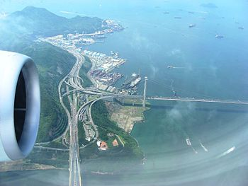 Aerial view of the Tsing Yi side of the Channe...
