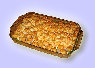Tater tots - In the Midwest states, tater tot hotdish is a very popular soup-based casserole consisting of tater tots, ground beef, and various vegetables.
