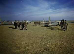British airborne operations in North Africa - Six man parties of 1st Airborne Division Paratroops marching toward Hotspur gliders of the Glider Pilot Exercise Unit at Netheravon.