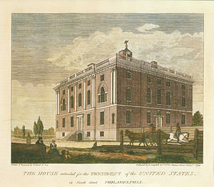 "University of Pennsylvania - ""House intended for the President of the United States"" from ""Birch's Views of Philadelphia"" (1800), home of the College of Philadelphia/University of Pennsylvania from 1801 to 1829"