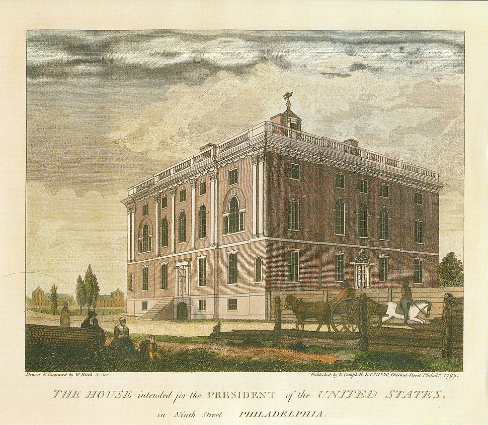House intended for the President, Philadelphia, Pennsylvania (1790s). Built to be the permanent presidential mansion, neither Washington nor Adams would occupy it.