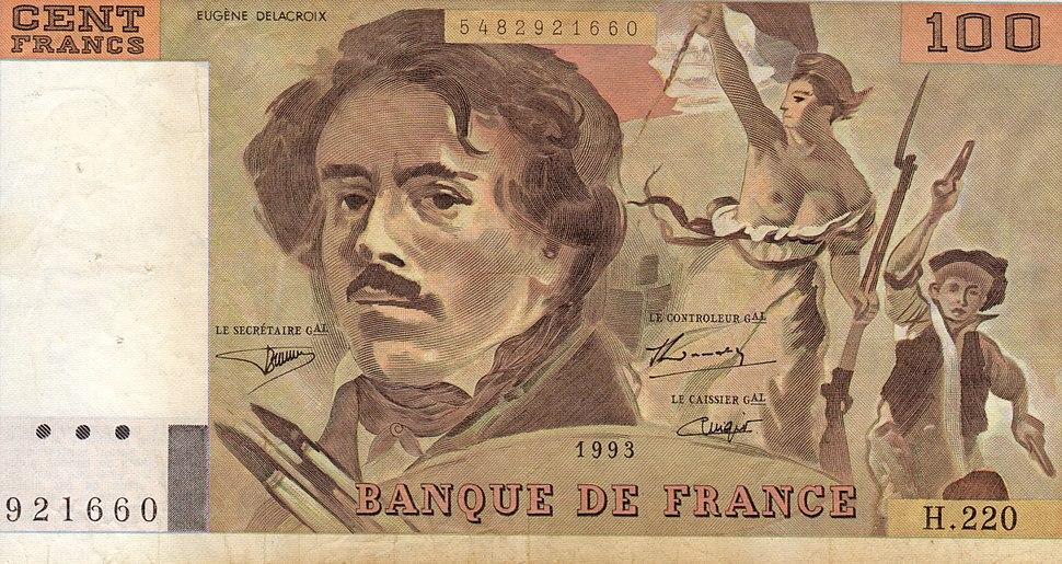Hundred franc note delacroix 1993