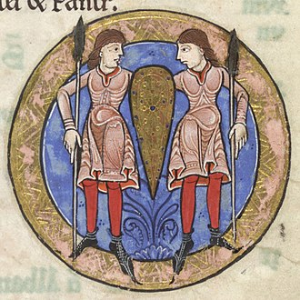 "1100–1200 in European fashion - ""Gemini"" from the Hunterian Psalter shows the twins in knee-length tunics over chausses and shoes with pointed toes.  England, c. 1170"