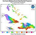 Hurricane Matthew October 2, 2016, rainfall forecast for Caribbean.jpg