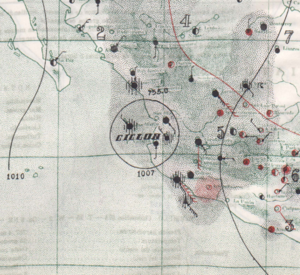 1939 Pacific hurricane season - Surface analysis of Hurricane Ten making landfall on October 25