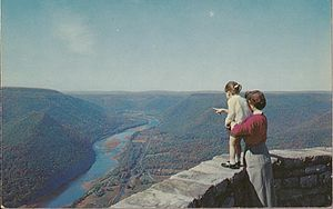 Hyner View State Park - An old post card from Hyner View, circa 1955