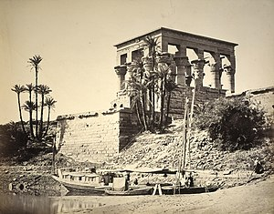 Albumen print - The Hypaethral Temple, Philae, by Francis Frith, 1857; medium: albumen print, original size 38.2×49.0 cm; from the collection of the National Galleries of Scotland