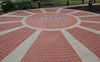 "Think (IBM) - A walking path at the IBM Poughkeepsie site, with the word ""THINK""."