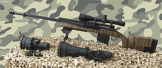 Sniper - A modern sniper weapon system which consists of a sniper rifle (here Barak HTR 2000 chambered in 0.338 Lapua Magnum), Telescopic sight (Leupold Mark IV x10) and additional optics.