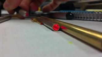 Light tube - Hexagonal light tube reflecting a laser beam