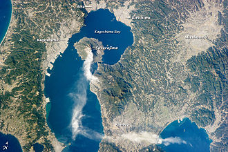 Kagoshima - An image taken from the International Space Station showing Kagoshima and its surroundings on January 10, 2013