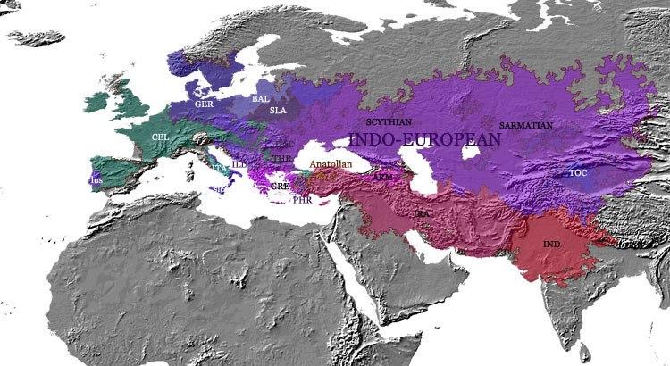 Indo-european - languages - evolution - 500 BC - map