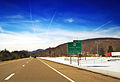 Interstate 80 westbound at the Centre County–Lycoming County line.jpg