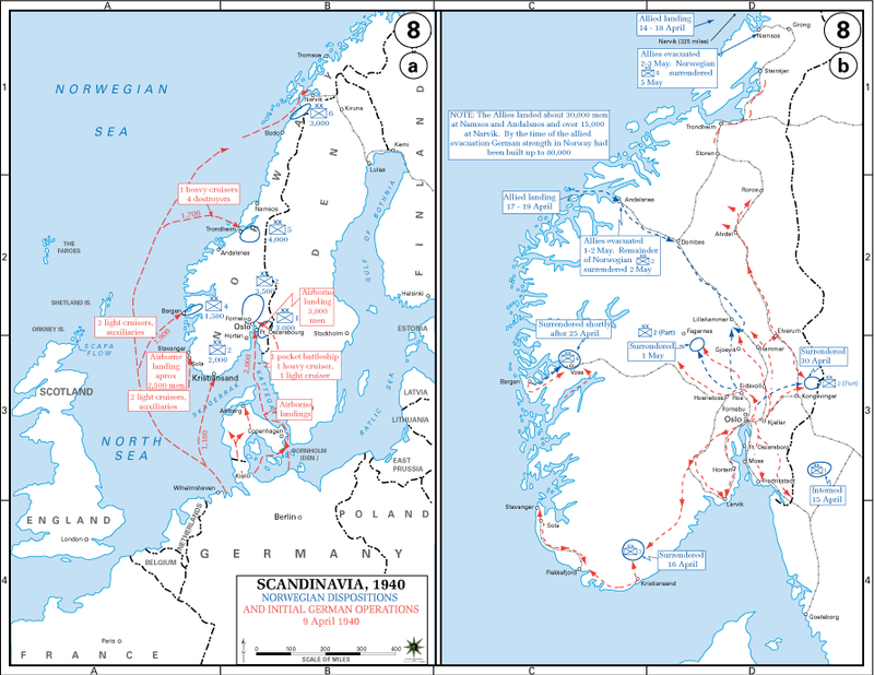 Initial German and Allied landings and operations in southern, central and northern Norway in April 1940 Invasion of Norway.PNG