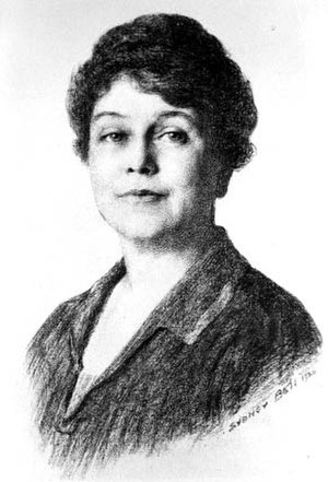 Irene Hazard Gerlinger - Black-and-white image of a drawing of Irene Gerlinger, the first female regent at the University of Oregon, drawn in 1928 by an artist named Sydney. The last name of the artist is illegible. The University of Oregon's Gerlinger Hall and Gerlinger Annex are named for her.