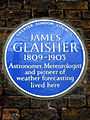 JAMES GLAISHER 1809-1903 Astronomer Meteorologist and pioneer of weather forecasting lived here.jpg