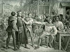 Jack Cade's Rebellion - Lord Saye and Sele brought before Jack Cade 4th July 1450, painting by Charles Lucy