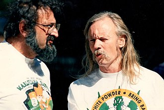 Dana Beal - Jack Herer and Dana Beal at the September 1989 Great Midwest Marijuana Harvest Fest in Madison, Wisconsin.