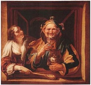 Alexander Voet the Younger - Image: Jacob Jordaens and studio Woman and a Fool holding a cat