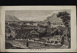 Dunkeld and Birnam - Historic view of Dunkeld from The London Magazine, January 1777