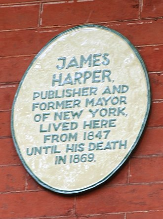 James Harper (publisher) - Plaque on 4 Gramercy Park