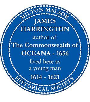James Harrington (author) - James Harrington blue plaque, installed 4 October 2008, marking the Manor House of Rectory Lane in the English village of Milton Malsor where Harrington lived.