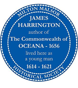 James Harrington (author) - James Harrington blue plaque, installed 4 October 2008, marking the Manor House of Rectory Lane in the English village of Milton Malsor where Harrington lived.