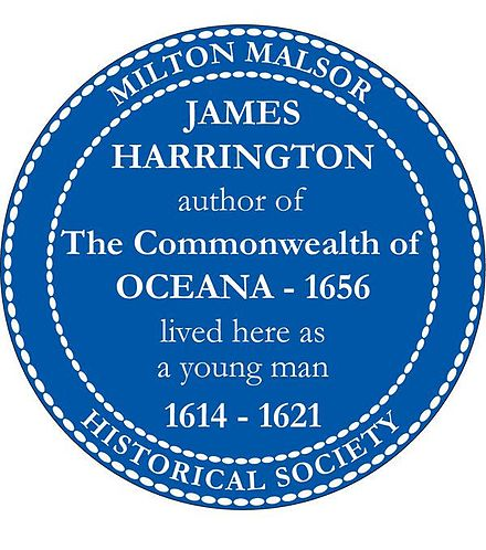 James Harrington blue plaque, installed 4 October 2008, marking the Manor House of Rectory Lane in the English village of Milton Malsor where Harrington lived. James Harrington Blue Plaque 1.jpg