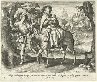 Jean-Baptiste Barbé - Flight into Egypt, after Maerten de Vos