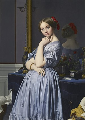 Dress - Jean Auguste Dominique Ingres depicts the Countess d'Haussonville, wearing a dress