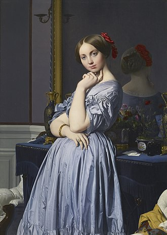 Portrait of Baronne de Rothschild - Louise de Broglie, Countess d'Haussonville, 1845. Among the similarities to the Rothschild portrait are her oval face, tightly parted hair, the position of her hands and fingers, and the coquettish expression. Note the anatomical absurdity in the proportion and curvature of d'Haussonville's arms and fingers.